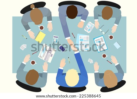 Business people handshake meeting signing agreement, businessmen hand shake sitting at desk work group top angle view vector illustration - stock vector