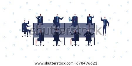 Business People Having Board Meeting,Vector illustration cartoon character