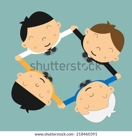 Business people holding hands to form a circle - stock vector