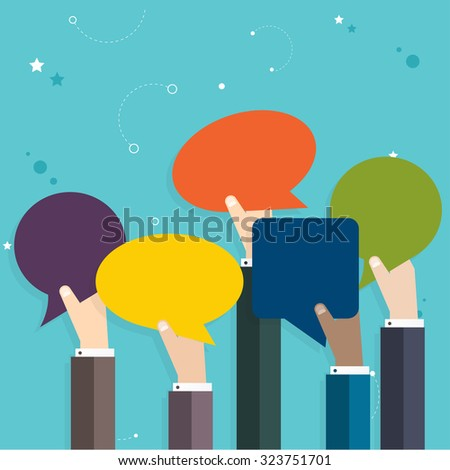 Business  people holding many carton speech bubbles. Business flat vector illustration. - stock vector