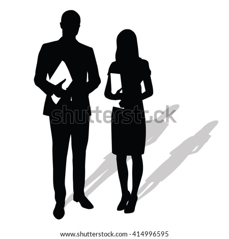 Business people holding papers, documents. Man stands next to woman. Vector silhouettes with shadow. Businessmen in formal wear. Man in suit, woman wearing stilettos high heels and skirt - stock vector