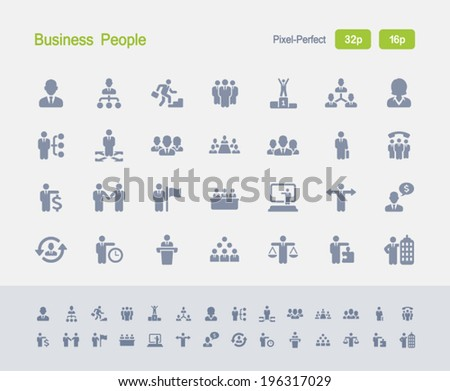 Business People Icons. Granite Icon Series. Simple glyph stile icons optimized for two sizes. - stock vector
