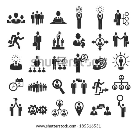 Business people icons: management, staff, conference and move on to success - stock vector