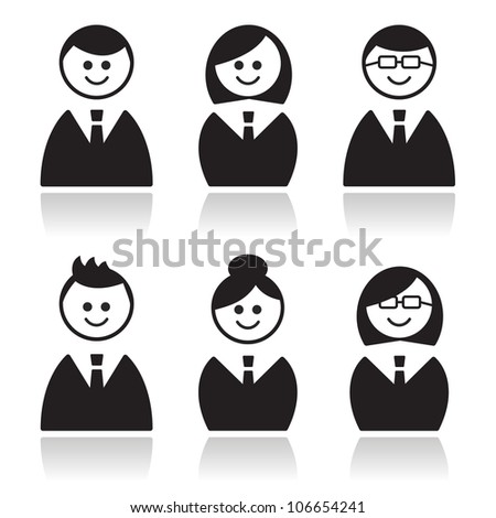 Business people icons set, avatars - stock vector