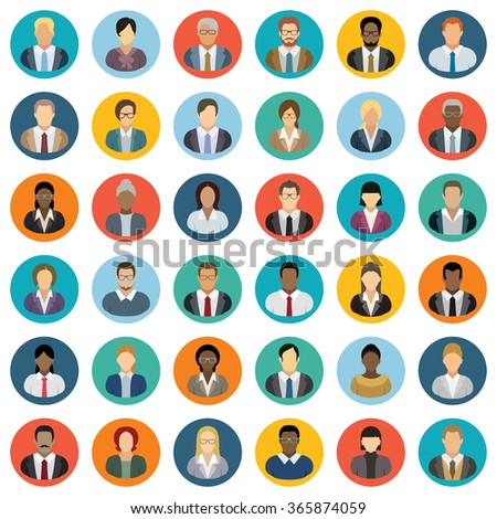 Business People Icons - Set of thirty-six people icons.  - stock vector