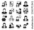 business people Icons with reflection - stock vector