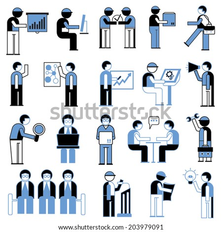 business people icons, working people in office situations - stock vector