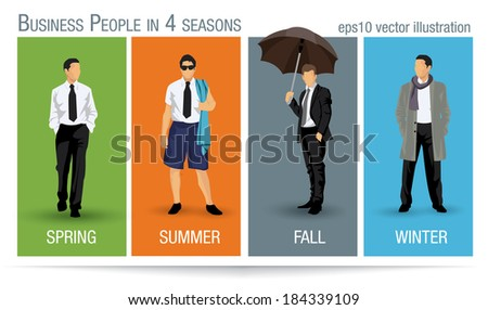 Business people illustration for all the four seasons - stock vector