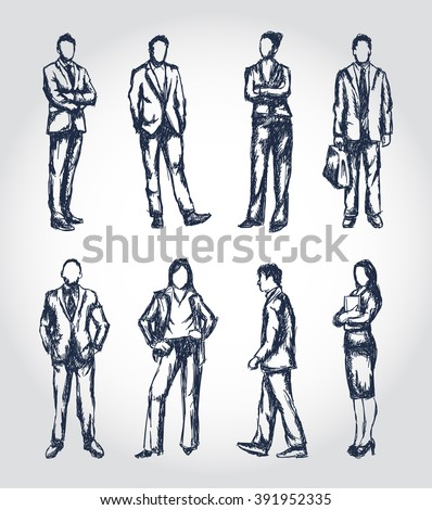 Business people illustrations in a sketchy pen drawn style - stock vector