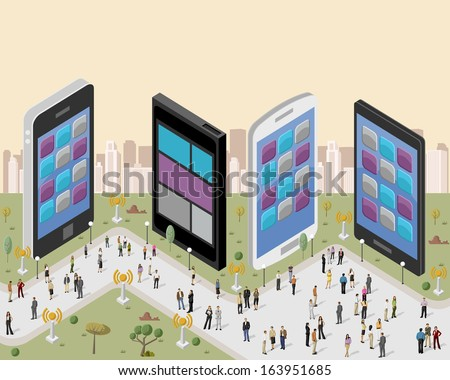 Business people in a city with smart phones  - stock vector