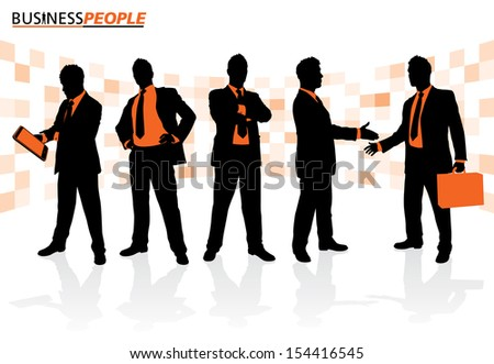 Business People in Team Poses Business People is a new series of High End business graphics that are updated every month. Each Element is placed on a separate layer for easy to use editing.  - stock vector