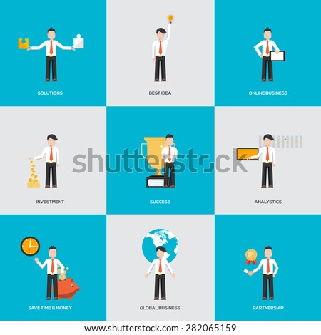 Business people in various characters. Infographics with flat design character. Vector - stock vector