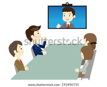 Business people in video meeting - stock vector