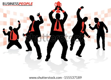 Business People in Winning Poses  - stock vector