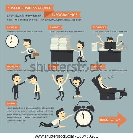 business people infographics, 1 week concept - stock vector