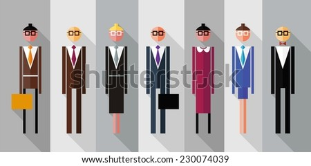 Business people isolated. Flat design. Vector illustration.  - stock vector