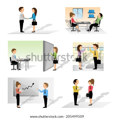 Business People - Isolated On White Background - Vector Illustration, Graphic Design Editable For Your Design. Team Working In Office - stock vector