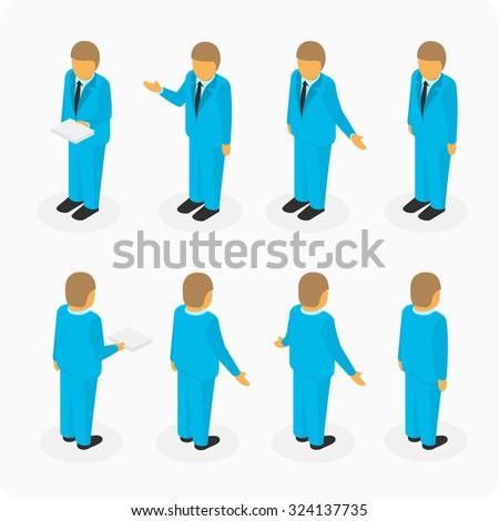 Business people isometric 3d vector figures. Set of  man. Vector illustration. - stock vector
