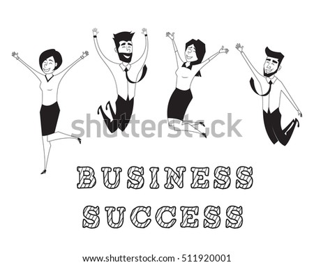 Business people jumping and celebrating victory. Graphic vector illustration.Flat design