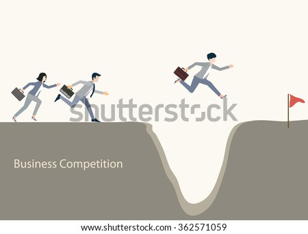 Business people jumping over gap, business competition, conceptual vector illustration. - stock vector