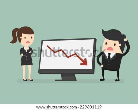 Business people looking at a bad results chart - stock vector