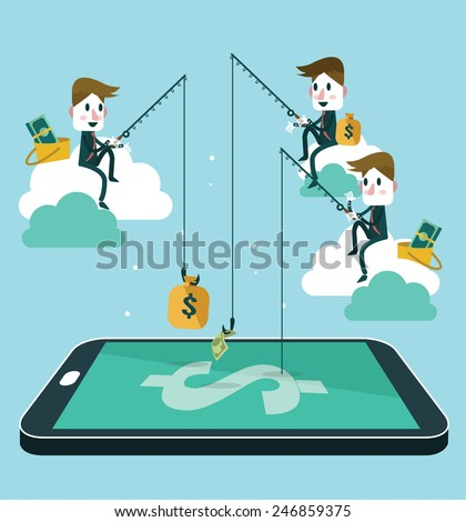 business people making money by fishing dollar banknote from wallet on screen of smart phone. Flat design vector illustration