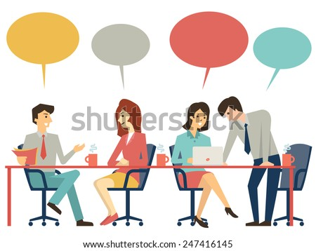 Business people, man and woman, at meeting table, discussing, presenting and explaining concept. Flat design.  - stock vector