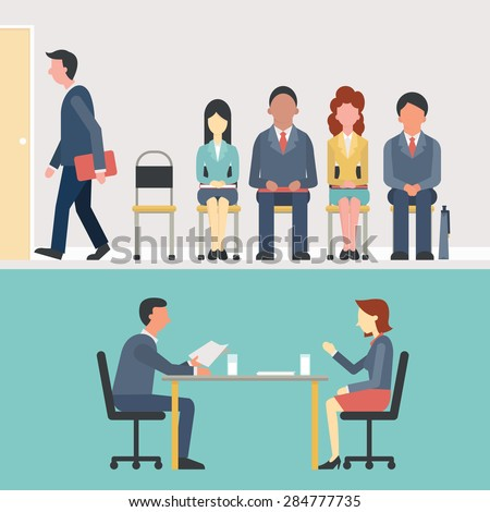 Business people, man and woman sitting and waiting for interview, recruitment concept. Flat design.  - stock vector