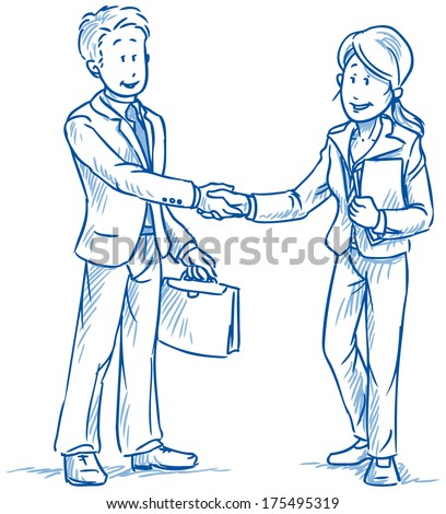 Business people, man and woman, smiling and shaking hands, with documents in hand,  hand drawn sketch vector illustration - stock vector