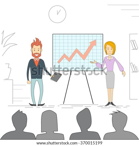 Business People Man Woman Meeting Seminar Training Conference Businesspeople Group Brainstorming Presentation Financial Chart Vector Illustration - stock vector