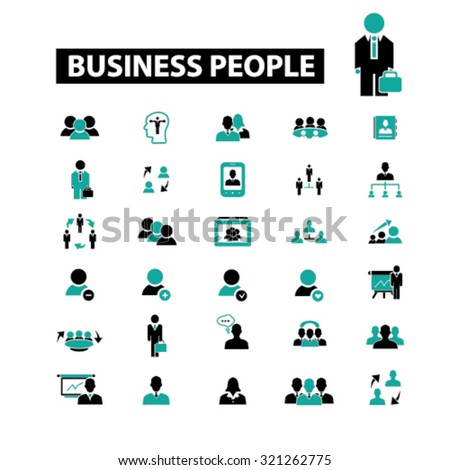 business people, management icons - stock vector