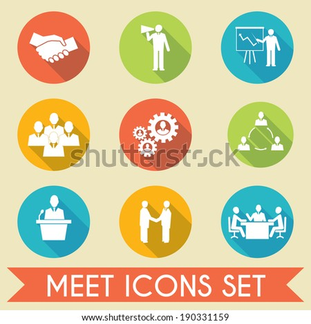 Business people meeting and collaborating strategic concepts pictograms icons set flat isolated vector illustration - stock vector