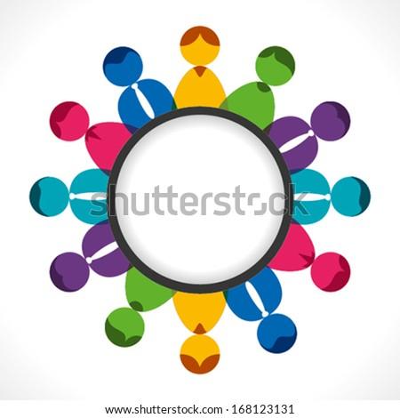 business people meeting concept, people arrange in round background vector - stock vector