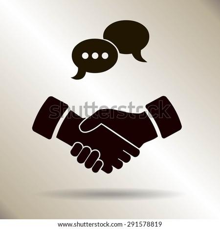 Business people meeting, handshake - set of vector web icons - stock vector