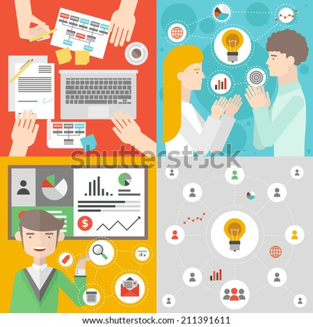 Business people meeting, office team work planning and brainstorm process, teamwork analyzing project, financial strategy presentation. Flat design style modern vector illustration concept.  - stock vector