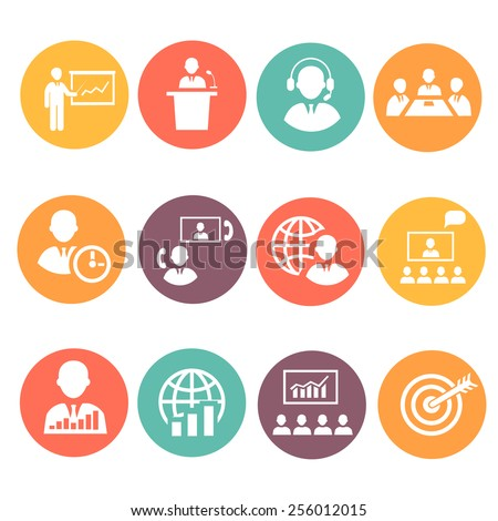 Business people meeting online and  offline strategic concepts icons set isolated vector illustration - stock vector