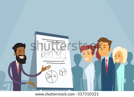 Business People Meeting Seminar Training Conference Businesspeople Group Brainstorming Presentation Financial Chart Flat Vector Illustration - stock vector