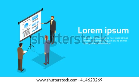 Business People Meeting Seminar Training Conference Businesspeople Group Brainstorming Presentation Financial Chart 3d Isometric Vector Illustration - stock vector