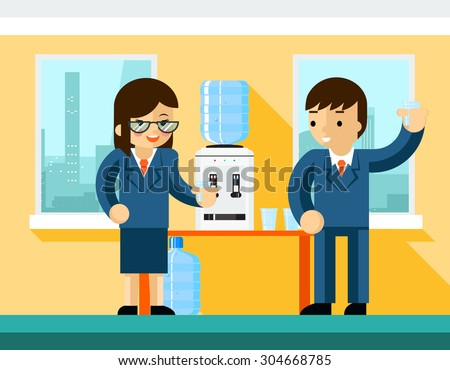 Business people near water cooler. Office design, bottle and person businessman, vector illustration - stock vector