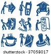 Business & people.Nine hand-drawn pictograms about business and people. Vector illustration. - stock vector