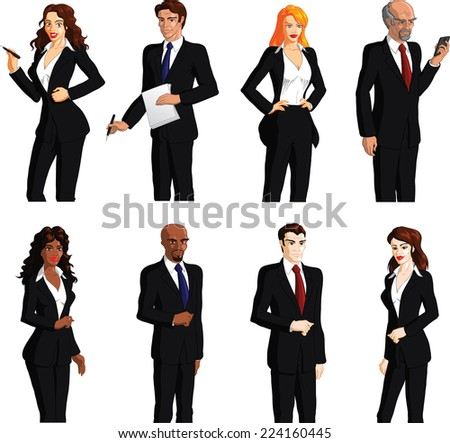 Business people of various ages and races. Vector illustration. - stock vector