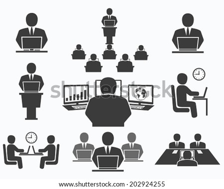 Business people. Office icons, conference, computer work  - stock vector
