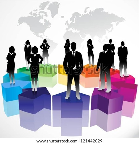 Business people on arrows background - stock vector