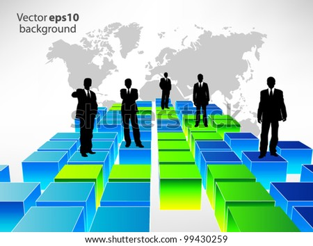 Business people on cubes - stock vector