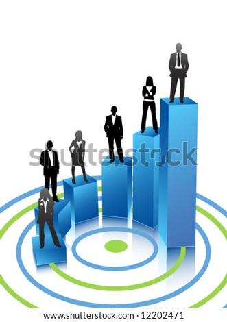 Business people on graph - stock vector