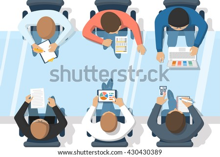 Business people on meeting, brainstorming. Vector illustration flat design style. Business presentation meeting in office. Team of professionals at the table. - stock vector