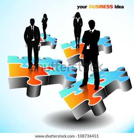 Business people on puzzle pieces - stock vector
