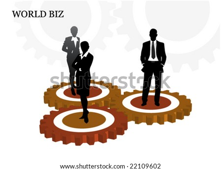 Business people on the gears