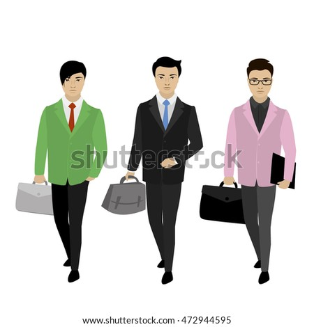 business people on the move, isolated on white  background, stock vector illustration