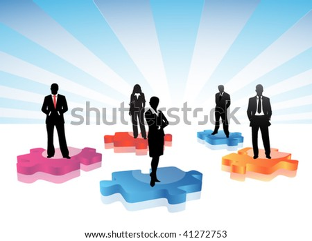 Business people on the puzzle